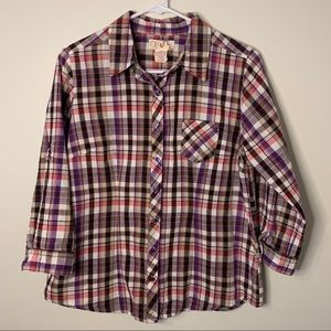 OP Pink & Purple Plaid Button-Up EUC